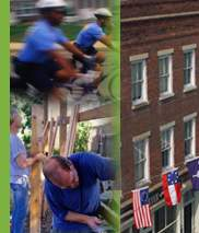 Photos representing weeding and seeding efforts such as police officers on bicycles, building construction, brick row house facade displaying several flags.