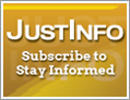 box with text: JUSTINFO Subscribe to Stay Informed