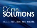 box with text: CrimeSolutions.gov Reliable Research. Real Results.