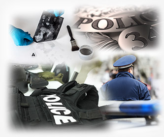 Photo collage of  police vest, poilce shield, and other law enforcement imagery