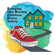 graphic with child's shoe, sidewalk, and house along with text: Bringing Our Missing Children Home Safely